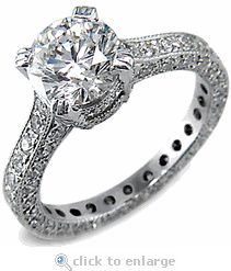 CZ Cubic Zirconia 2.5 Carat 9mm Brilliant Round & Pave Solitaire Engagement Ring 14K White Gold By Ziamond.  The Vendome Solitaire is an eternity style solitaire featuring approximately 4.5 carats of the finest quality hand cut & hand polished original Russian formula cubic zirconia.  $2895 #ziamond #cubiczirconia #cz #round #brilliant #solitaire #ring #engagementring #weddingring #diamond #jewelry #14kgold #russian #handcut #handpolished