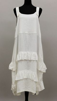 ESCALADYA EUROPEAN DESIGNS LAGENLOOK ARTSY LAYERED RUFFLE DRESS WHITE $390