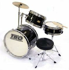 """TKO 3-piece Children's Drum Set with Throne & Cymbal - Black by TKO. $132.99. Suitable for ages 5-9, this is the perfect drum set for the child just starting out!  This set is made by TKO, one of the best names in student and intermediate drum sets! It features 3 high-quality drums, as well as cymbal and throne.  Drum set includes: ? 4"""" x 10"""" Snare with stand ? 6"""" x 10"""" Tom tom ? 10"""" x 16"""" Bass drum with pedal ? Bass mounted cymbal stand & 10"""" cymbal ? Junior ..."""