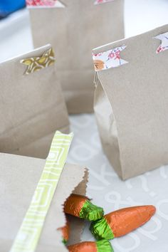 wire between fabric strips or ribbon creates decorative bag sealers. ...use for goodie bags