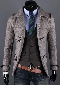 Toggle Herringbone Trench coat. Ugh, I would die if a guy wore this. Love it.