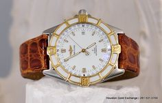 Breitling J-Class Automatic in White with a crocodile cognac leather strap in 18K & Stainless Steel. $2,300