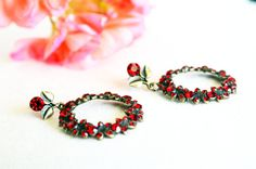 antiqued brass dangle earrings red burgundy swarovski art deco crystal rhinestone earrings wedding jewelry bridesmaids earrings on Etsy, 29,00$