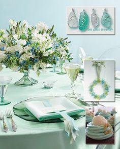 Dahlias Day - The Wedding Talk Blog for the Practical Bride: Summer wedding colors: SEA FOAM GREEN! table settings, color palettes, centerpiec, aqua blue, mint, table arrangements, wedding colors, sweet peas, sea glass