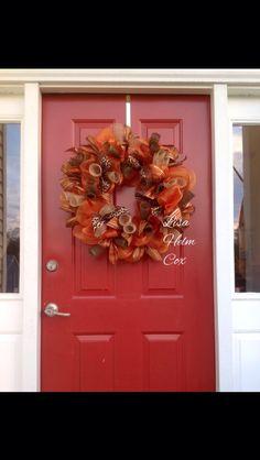 Orange deco mesh fall wreath