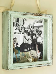 Shadowbox from an old frame...love this crafty idea.