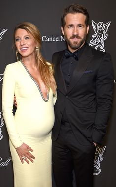 Pregnant Blake Lively Stuns in Plunging Neckline, Joins Ryan Reynolds on Red Carpet for First Time Since Baby News I just love them both!