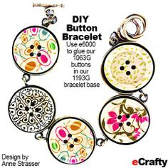 DIY Easy Floral Button Bracelet & Earrings Recipe from eCrafty.com Supply list and lots of pictures + savings coupon for your next order! #ecrafty #buttons #diycrafts #diyjewelry #diygifts #retailmenot #coupons #craftcoupons