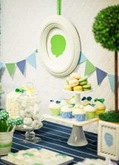 Silhouette inspired Little Man first birthday party by Le Papier Studio & WH Hostess little man birthday, dessert tables, boy party, blue green, boy shower, first birthdays, birthday party themes, 1st birthdays, kid birthday parties