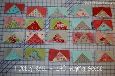1 Jelly Roll = 240 flying geese tutorial.