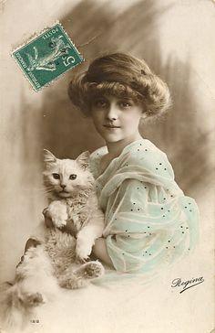 postcards, little girls, french postcard, vintag children, vintag cat
