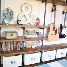 "LOVING these Industrial Shelves ""DIY"" by @Traci @ Beneath My Heart @organizeandinspire"