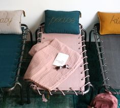 Sophisticated enough for adult spaces: A new line of camp beds from Paris shop Serendipity, in teal, gray, and pale pink canvas. €190 at Serendipity.