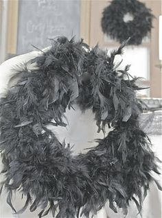 feather boas from costume department are fantastic as garland and can also be made into wreaths  to use as accents.