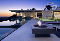 Hollywood Hills home hollywood hill, fire pits, interior, backyard patio, dream homes, sunsets, luxury houses, place, pools