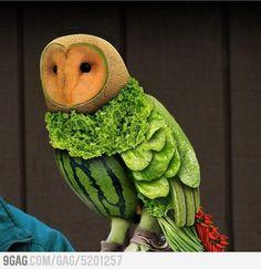 veget owl, clever idea, food, fruit owl, edibl owl