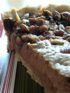 Gluten-free Pumpkin Pie with Pumpkin Seed and Ginger Topping