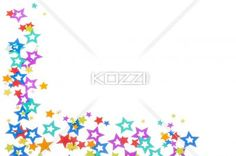 colorful star shape decoration on plain white background. - Close-up shot of colorful star shape decoration arranged on plain white background.