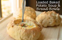 Loaded Baked Potato Soup in Bread Bowls | Healthy Ideas for Kids