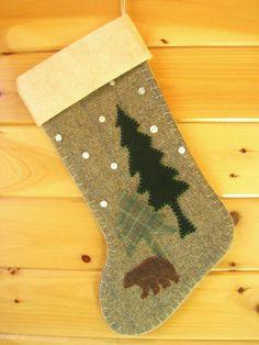 Personalized Christmas Stocking / Large Stocking /       Woodland Bear Christmas Stocking  by AwayUpNorth #Christmas #maineteam