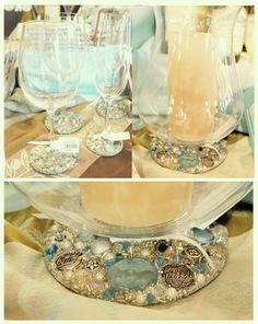 These would make amazing wedding favours, decorate simple inexpensive wine glasses with beads, shells and anything else you want!