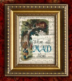 ALICE In WONDERLAND We're All Mad Here Print on Antique Sheet Music Page Kids Room Decor Home Decor Wall Decor on Etsy, $10.00