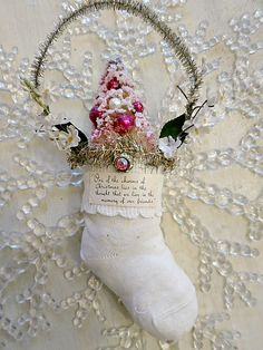 Stocking with with pink tree white sock, bottl brush, first christmas, stock ornament, pink tree, brush tree