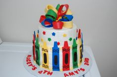 """Crayon Cake - This was made for a 3 and 4yr old girl's """"Coloring Themed"""" birthday. BC with fondant accents"""