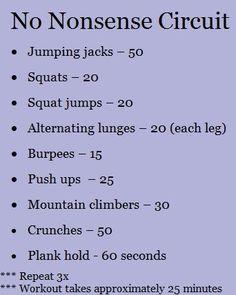 No nonsense circuit workout