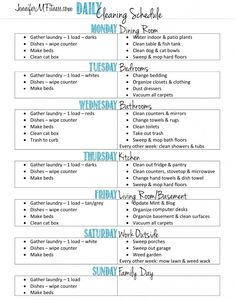 Daily Cleaning Schedule - JenniferMFitness