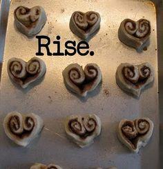 Heart shaped cinnamon rolls...breakfast in bed?