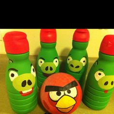 """Cutest """"pins"""" for some angry bird bowling (made from creamer bottles for Cameron's bday!)"""