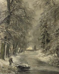 """""""A snow covered forest"""" by Louis Apol (1850 - 1936)"""