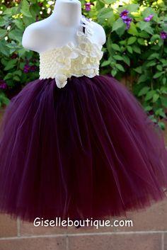 Eggplant TuTu Dress with limited ivory Hydrangeas. Wedding .Birthday .Flower Girl Dress. $90.00, via Etsy.