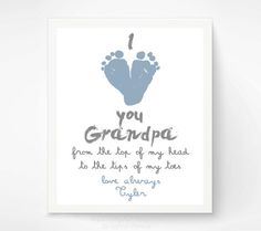 Gift for Grandpa - Personalized Father's Day Gift for Grandfather - I Love You Grandpa Baby Footprint Art Print  - First Father's Day