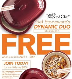 Get the Deep Covered Baker and the Round Covered Baker for FREE when you join The Pampered Chef in April!