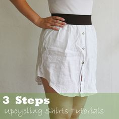 Upcycle an old mens shirt into a lovely skirt in just 3 simple steps.