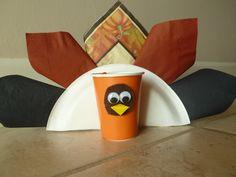 Thanksgiving Paper Crafts - Tableware Turkeys thanksgiving decorations, 4h idea, thanksgiv craft, toddler craftsidea, thanksgiv idea, holiday crafts, craft ideas, paper crafts, kid craft
