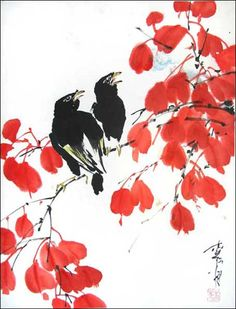 """Crows In Fall"" - by Jan Zaremba (asianbrushpainting, sumie)"