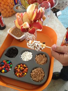 Caramel apple dipping station. So much cleaner and easier than the whole apples I have done at the party previously. Going to give this a try this year.