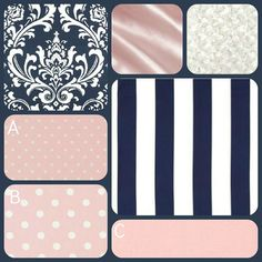 Baby Crib Bedding in Navy and Pink Damask