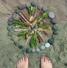 Mandala nature, sacred circle, flowers, leaves,