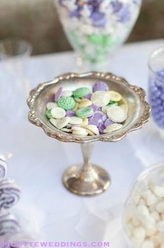 vintage edible buttons chocolate purple violet green mint white ivory yellow wedding favors candy table