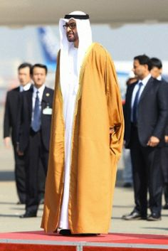 Crown Prince of Abu Dhabi UAE Mohammed bin Zayed Al Nahyan arrives in Japan and meets the Crown prince of Japan Naruhito at Haneda International airport in Tokyo Japan on 25 Feb 2014.