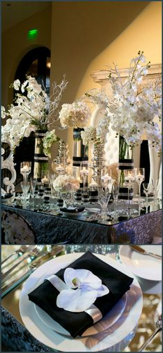 Lovely black and white wedding tablescape.
