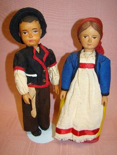Pair of 10 In. Swiss Hand-carved Wood Dolls, Original wooden carv, wood dollsswitzerland, handcarv wood, linden wood