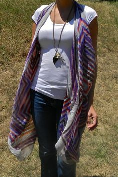 DIY No Sew Scarf to Long Vest Tutorial from DIY Confessions here.