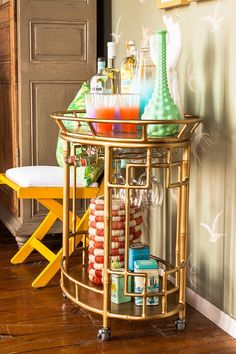 barcart, colorful decor, bathrooms, bar cart styling, brass, bar carts, furniture decor, drinks, cocktails