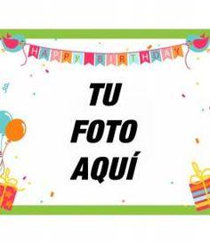 Tarjeta de cumpleaños con globos, banderitas con pájaros, regalos, confetti y marco verde. http://www.fotoefectos.com/
