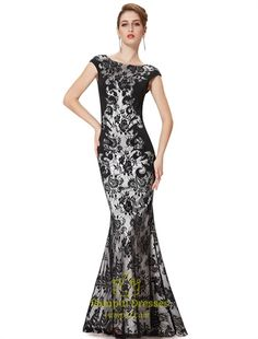 Black Lace Mermaid Prom Dresses 2015,Long Black  Lace Mermaid Prom Dress With Cap Sleeves